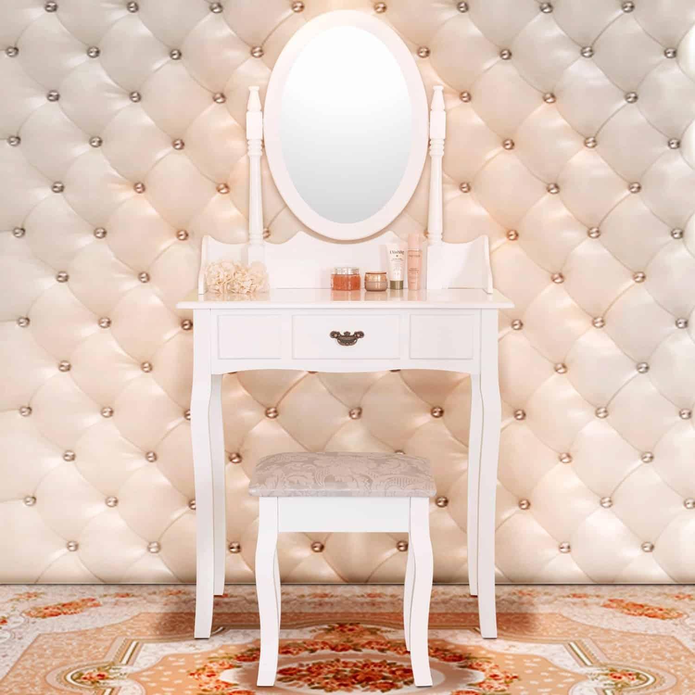 Elegance Dressing Table Makeup Vanity With Stool Set Oval Mirror