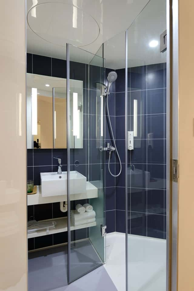 glass panel doors for small bathrooms