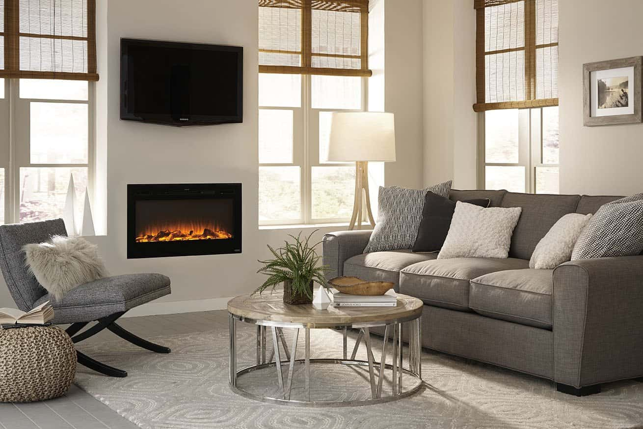 recessed electric fireplace for small rooms