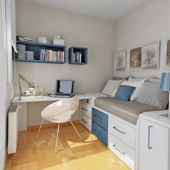 Boys Bedroom With Small Study Area