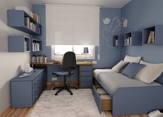 Boys Small Bedroom With Study Desk