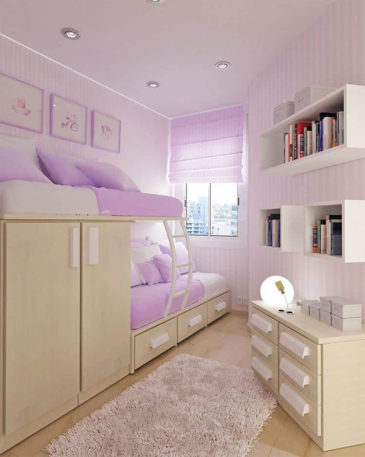 Pink Girls Bedroom With Lots Of Storage Space