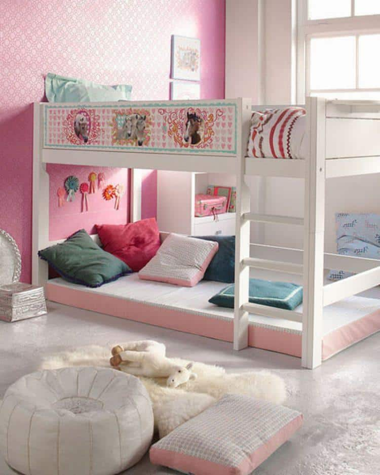 Pink Small Bedroom For Girls With White Bunk Bed