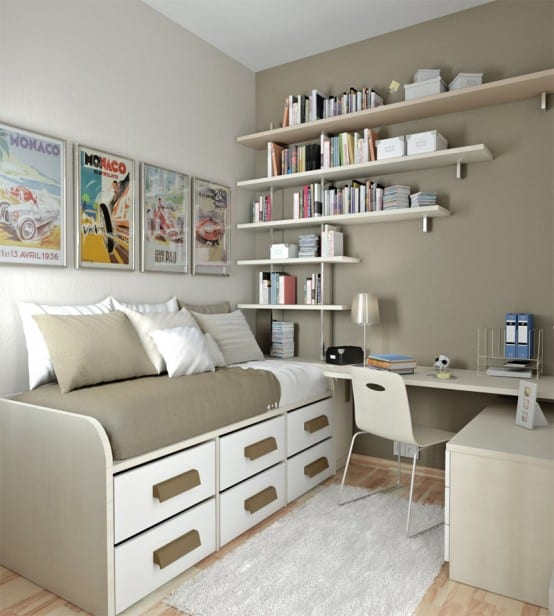 Simple Study Room & Bedroom For Boys