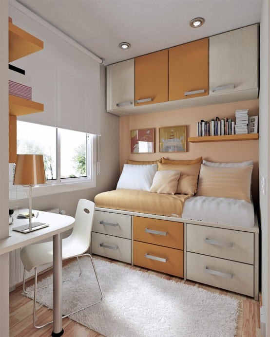 Small Bedroom With Many Drawers
