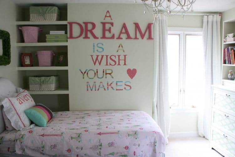 Small Girls Bedroom With Big Writing On Wall