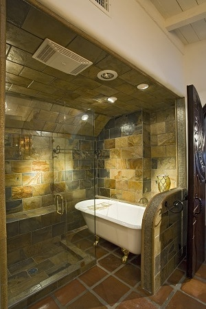 Tiled small bathroom